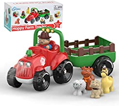 SUPERHIGH Farm Tractor Toy Little People Tractor for 3 4 5 6 7 8 Year Old Boys & Girls with Detachable Farmer & Animals, Musical Toys with Light & Animal Sound Effect, Great Gift for Toddlers Kids