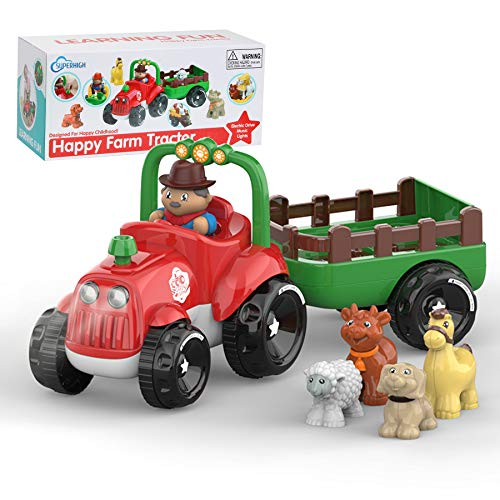 SUPERHIGH Farm Tractor Toy Little People Tractor for 3 4 5 6 7 8 Year Old Boys & Girls with Detachable Farmer & Animals  Musical Toys with Light & Animal Sound Effect  Great Gift for Toddlers Kids