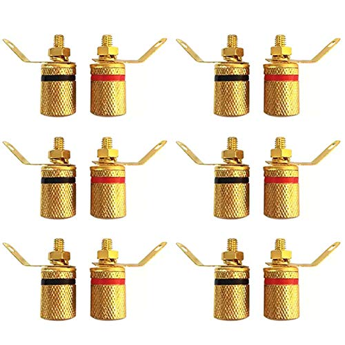 スピーカー端子 ビンディングポスト 金メッキバナナソケット(12個セット 赤6/黒6個)
