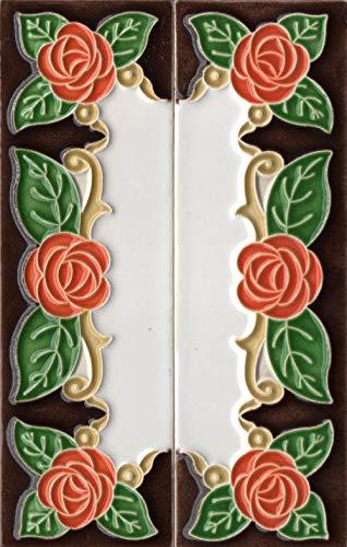 Números de casa italianos, números y letras de cerámica, diseño de rosa naranja, tamaño del azulejo: 15 cm x 5 cm, 3 a 6 marcos de azulejos (como un juego)