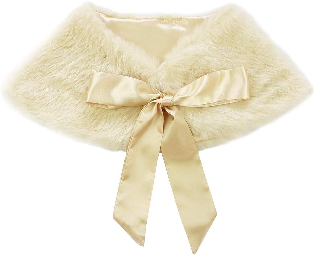 zdhoor Kids Flower Girls Faux Fur Shoulder Cape Princess Wraps Ribbon Ties Wedding Bridesmaid Shawl Scarf