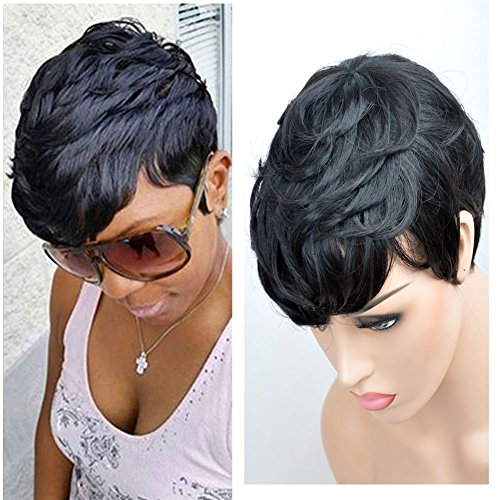 VCK Short Layered Wavy Human Hair Black Cute Natural Curly Wigs for Black Women 1B Color