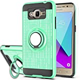 Galaxy Grand Prime Case, Galaxy J2 Prime Case with HD Screen Protector,Ymhxcy 360 Degree Rotating Ring & Bracket Rubber Dual Layer Shock Bumper Resistant Back Cover for Samsung G530H-ZH Mint