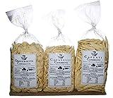 Tris Pasta de Puglia. Capunti Caserecci | Cavatelli Caserecci | Orecchiette Caserecce | Pasta de sémola de trigo duro casera en envases de 500 gr. PRODUCTO ITALIANO TÍPICO