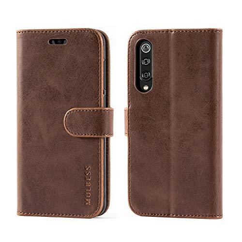 Mulbess Handyhülle für Xiaomi Mi 9 SE Hülle, Leder Flip Case Schutzhülle für Xiaomi Mi 9 SE Tasche, Vintage Braun