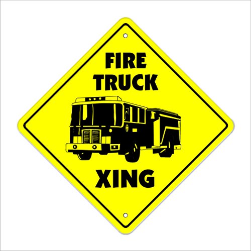 "Firetruck Crossing Sign Zone Xing | Indoor/Outdoor | 12"" Tall Plastic Sign station man firefighter hook & ladder"