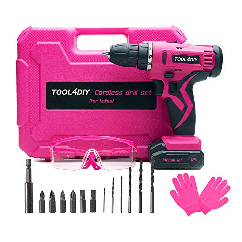 TOOL4DIY 12V Pink Cordless Electric Drill Driver Kit for Women Tool for Ladies
