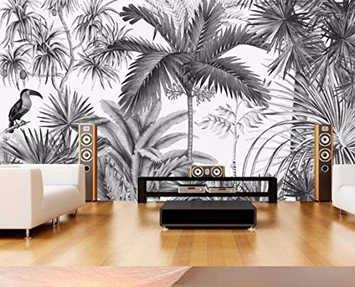 3D Non-Woven Wallpaper Fotobehang Europese Vintage Handbeschilderd Zwart en Wit Coot Tufts Jungle Mural Tv Achtergrond Muurbehang 300*210 300* 210