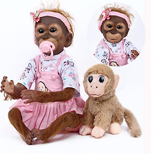 ZIYIUI Realista Mono Reborn 21 Pulgadas 52 cm Bebes Reborn Simulación Silicona Vinilo Monkey Doll Muñecas Recién Nacida Muñeca Artística Niños Juguete