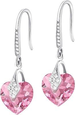 Crystals&Stones – Orecchini a forma di cuore in argento 925 – Rose – orecchini con cristalli Swarovski® – bellissimi orecchini da donna – meravigliosi orecchini con scatola regalo