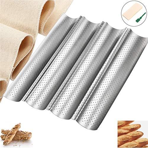 YTOPRO Baguette forma do pieczenia, blacha do pieczenia bagietek z powłoką zapobiegającą przywieraniu, na 4 bagietki 38 x 33 cm – z nożem i linką do pieczenia