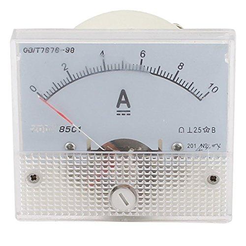 uxcell アナログ電流パネルメータ 電流計ゲージ ホワイト プラスチック DC0-10A 長方形 85C1