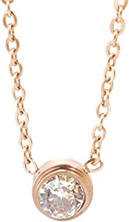 KSQS Dainty Choker Necklace,Simple Y Pendant Stainless Steel Layered Necklace,14K Rose Gold Plated Necklace for Women