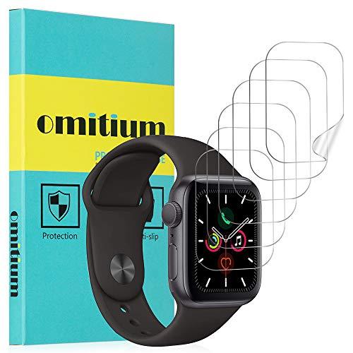 omitium [6 Pezzi Pellicola Protettiva per Apple Watch Serie 4/5 44mm Protezione Schermo Apple Watch Serie 3/2/1 42mm TPU Film [Copertura Massima] HD Clear Senza Bolle Apple Watch Screen Protector