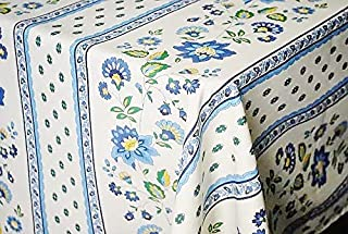 Le Cluny, Fayence Blue and Creamy Off-White French Provence Coated Cotton Tablecloth, 100 Percent Cotton, 52 Inches Wide x 72 Inches Long
