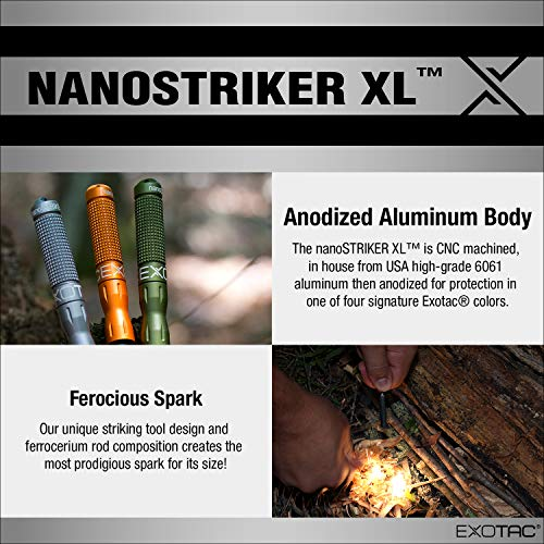 Product Image 4: EXOTAC – nanoSTRIKER XL Self-Contained Ferrocerium Firestarter for Emergency Survival Equipment, Camping, Backpacking, and Hiking (Olive Drab)