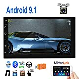 Double Din Android 9.1 Car Radio 7'' TFT Touch Screen GPS Navigation 1G+16G Indash Car Stereo Support Bluetooth FM WiFi Steering Wheel Control Dual USB + 12 LEDs Rear View Camera