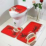 GABRI Juego de Alfombrillas de baño de 3 Piezas Navidad coloranimal Antideslizante Alfombra, Alfombrilla de Contorno y Cubierta De Tapa