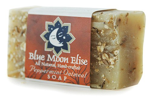 Blue Moon Elise Peppermint Oatmeal All Natural Bar Soap, Scented with Premium Peppermint Essential Oils, Made with Organic Ingredients, Handmade in the USA, Moisturizing and Therapeutic for Face/Body, For Sensitive Skin, For Men and Women