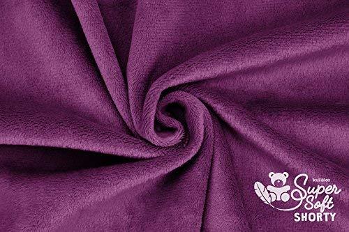 kullaloo Minkee (Tissu Peluche Microfibre) au Metre – 1,5 mm Supersoft Shorty – 0,5 m - Couleur Prune