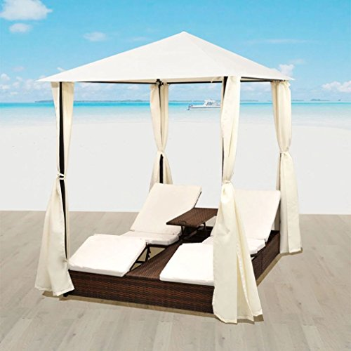 vidaXLOutdoor Patio Reclining Chaise Lounge, Outdoor Beach Pool Yard Porch Wicker Rattan Chaise, Adjustable Backrest Lounger Chair and canopy, set of curtains.(Brown) 77.6' x 55.1' x 98.4' (L x W x H)
