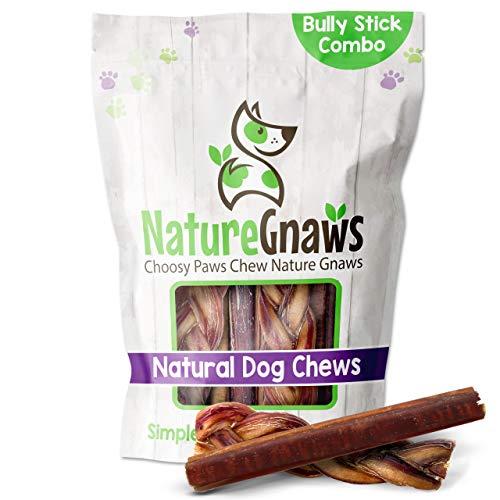 bully sticks elks Nature Gnaws Bully Sticks Combo Pack - Premium Natural Beef Dog Bones - Long Lasting Dog Chew Treats Variety Bag - Rawhide Free (6 Count)