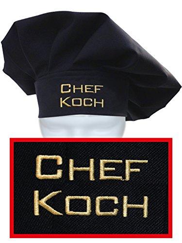 KringsFashion + CG Workwear Kochmütze, Chefkoch, Farbe schwarz, hochwertig Bestickt vom Stickerei-Fachbetrieb; Profimütze, Qualitäts-Arbeitskleidung, Made in Germany