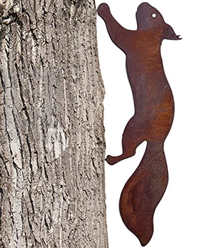 Rostiges Eichhörnchen 30cm zum Schraube in Holz, Gartenstecker Rost Rostige Gartendeko Eichhörnchen Rost Deko Baumstecker