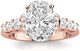 1.75 Ctw Oval Cut Designer Four Prong Pave Set Round Diamonds 14K White Gold Engagement Ring (H-I Color I1-I2 Clarity 1 Ct Center)