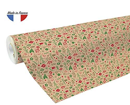 Clairefontaine 211725C Geschenkpapier Kraftpapier (50x0,7m, 70g/qm)1 Rolle Weihnachtsmotiv