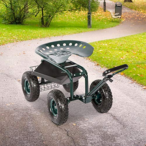 Kinbor Rolling Garden Scooter Garden Cart Seat with Wheels and Tool Tray, 360 Swivel Seat, Green