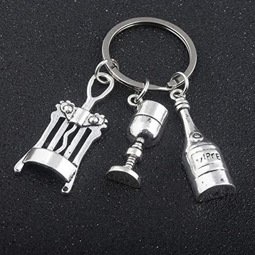 HXYKLM Sieraden Chemische Biologische Experimentele Tool Sleutelhangers Conische Flask Chemische Moleculaire DNA Microscoop Hanger Sleutelhanger Champagne