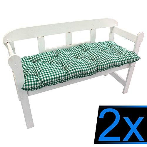 nxtbuy Bankauflage Ibiza 2er Set 150x50 cm Karo-Grün - Bequeme Polsterauflage für Gartenbänke und Hollywoodschaukel Mit Einer besonders weichen Polsterung - 70% Polyester, 30% Baumwolle, ÖkoTex100