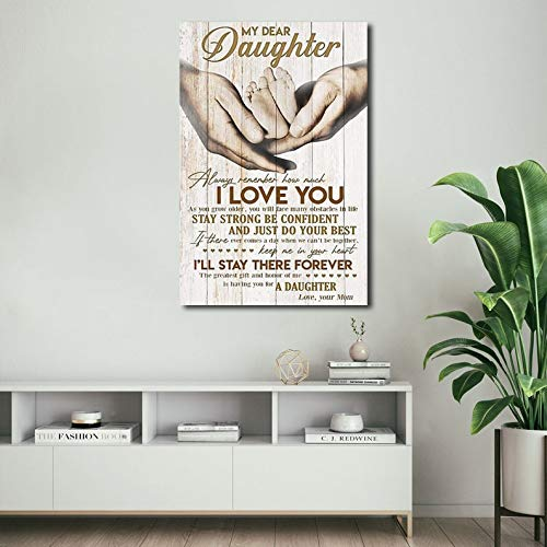 TNND Letrero de metal con texto en inglés 'Dear My Daughter Always Remember How Much I Love You From Mom' (20,3 x 30,5 cm)