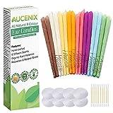 Ohrkerzen, Aucenix Alles Natürlich Ohrenkerzen zur Reinigung Blockierte Ohren - 16 Stück (8 Farben), Ohrkerze Bienenwachs mit 8 Stück Schutzscheiben