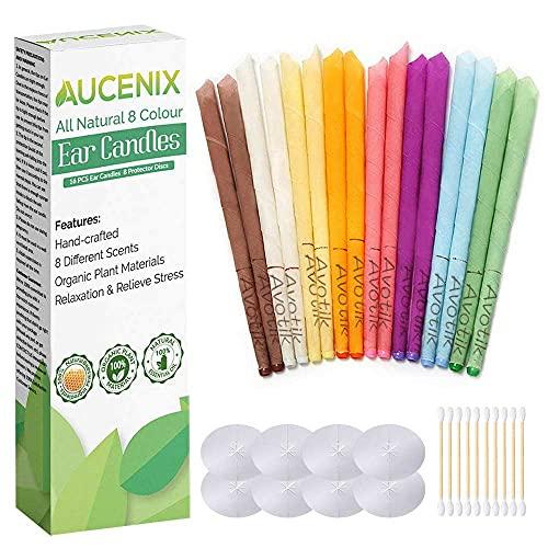 Ohrkerzen, Aucenix Alles Natürlich Ohrenkerzen zur Reinigung Blockierte Ohren - 16 Stück (8 Farben), Bio-Duftaroma Ohrkerze Bienenwachs mit 8 Stück Schutzscheiben