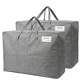 Polecasa 105L Extra Large Storage Bags with Reinforced Handles and Zippers 2 Pack Lead-Free Heavy Duty Moving Bags Tote with Tag Pocket No Smell Closet Organizers for Blankets Comforters Pillows