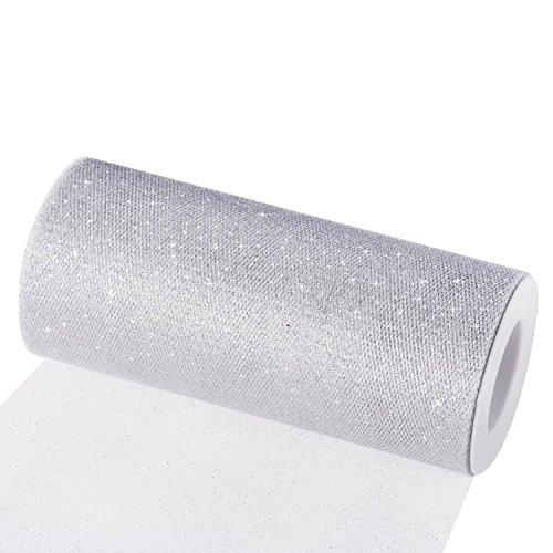 Tüll Dekostoff Tüllband Tischläufer Tischband Tüllnetz für Hochzeit Party Bankett Deko Handwerk 15cm x 22.5m pro Rolle (Silber mit Glitzer)