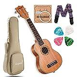Soprano Ukulele Mahogany 21 Inch Professional Ukulele Kit w/Free Online Lessons, Gig bag, Picks, Nylon Strings, Strap