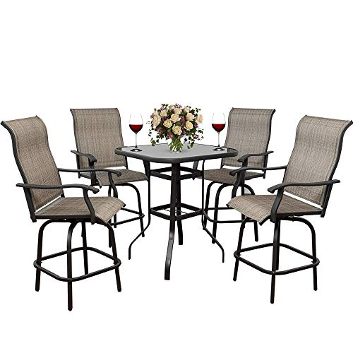 Eco Home 5 PC Swivel Bar Sets Patio Textilence High Bistro Sets, 4 Bar Stools and 1 Table, All-Weather Patio Furniture,Suitable for Garden, Lawn and Yard (5)