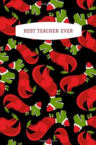 Best Teacher Ever: Funny Dinosaur in Red Christmas Onesie...