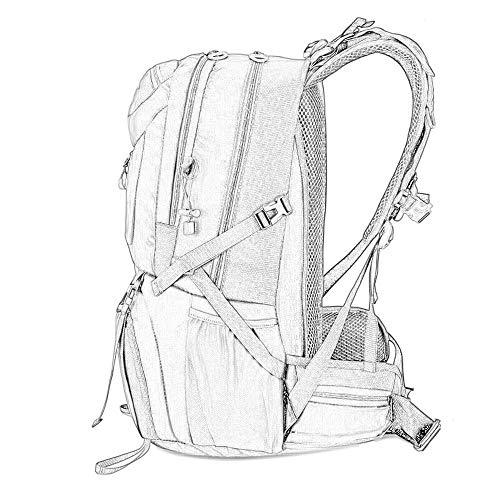 Reistas, outdoor-rugzak, grote inhoud, bergbeklimmer-rugzak voor dames en heren, geschikt voor laptopvak, 14 inch, Netto (rood) - 666-888-999