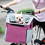 Pet Carrier Bicycle Basket Bag Pet Carrier/Booster Backpack for Dogs and Cats with Big Side Pockets,Comfy & Padded Shoulder Strap,Travel with Your Pet Safety,Pink