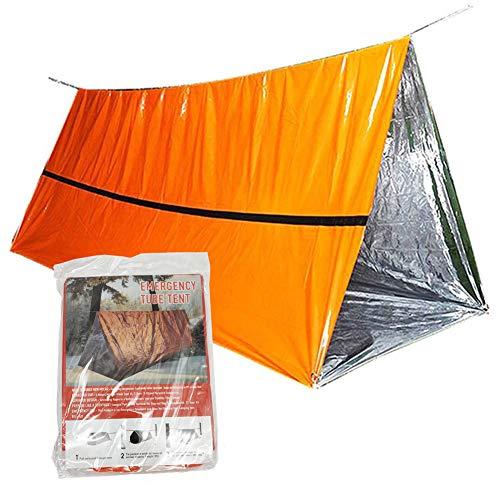Refugio de supervivencia de emergencia, 59 x 99.86 pulgadas, impermeable, refugio térmico Mylar para 2 personas, senderismo camping (naranja)