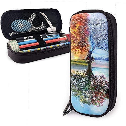 Four Seasons Tree PU Leather Pen Pen Bag 20 * 9 * 4 cm (8X3.5X1.5 Inches) Pouch Case Holder College Coin Purse Cosmetic Bag