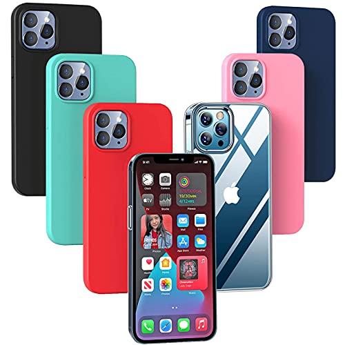 Esteller 6X Cover per iPhone 13 PRO Max, Ultra Sottile Silicone Custodia Morbido TPU Case Protettivo Gel Cover per iPhone 13 PRO Max - Trasparente + Nero + Blu + Rosso + Rosa + Verde Menta