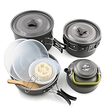 Camping Mess Kit Camping Cookware Pots and Pans For 4 -5 Families, Lightweight Backpacking & Hiking Equipment Outdoor Cooking Utensil, Durable and Compact, 2 Pots, Pan, 5 Bowls, Teakettle, and Plates