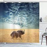 N \ A Safari-Duschvorhang, Wildtiere, Sonne durch bewölkten Himmel, Grasland, Herbstansicht, Stoff, Badezimmer-Dekor-Set mit Haken, 183 cm lang, blaugrau & senffarben