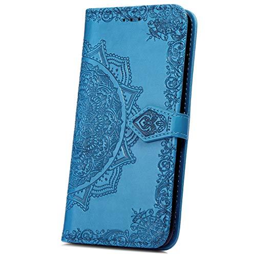 JAWSEU Coque Galaxy S10,Etui Galaxy S10 Portefeuille PU Étui Folio en Cuir à Rabat Magnétique Luxe Élégant Beautiful Fleur de Dentelle Stand Leather PU Case Flip Wallet Case,bleu