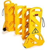 Rubbermaid Commercial 13-Foot Extendable Mobile Safety Sign/Barrier with Locking Straps, Y...